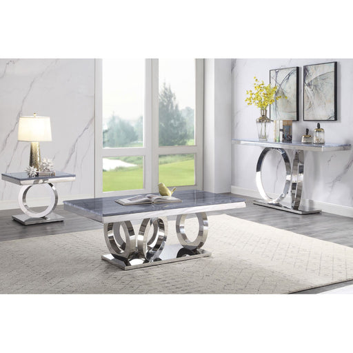Zasir Gray Printed Faux Marble & Mirrored Silver Finish Table Set image