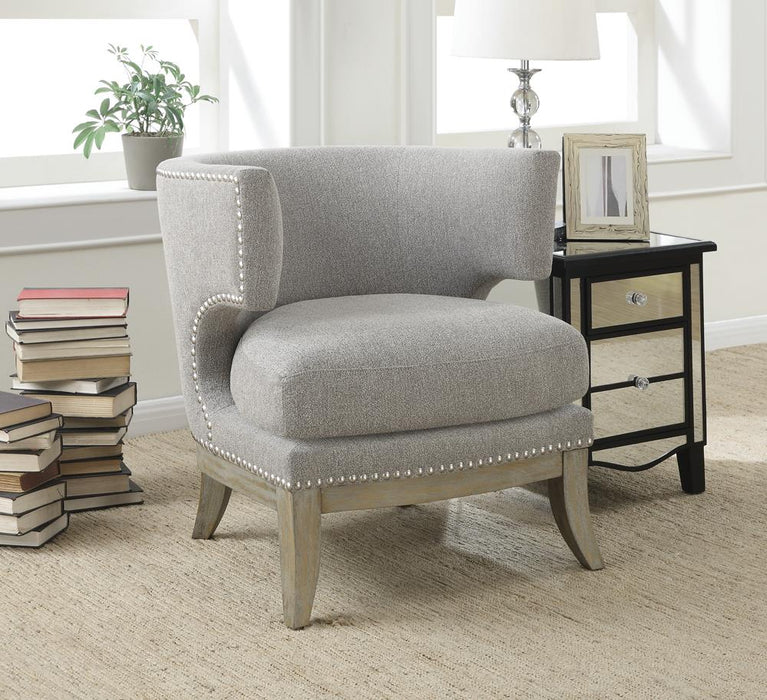 Transitional Grey Exposed Wood Accent Chair image