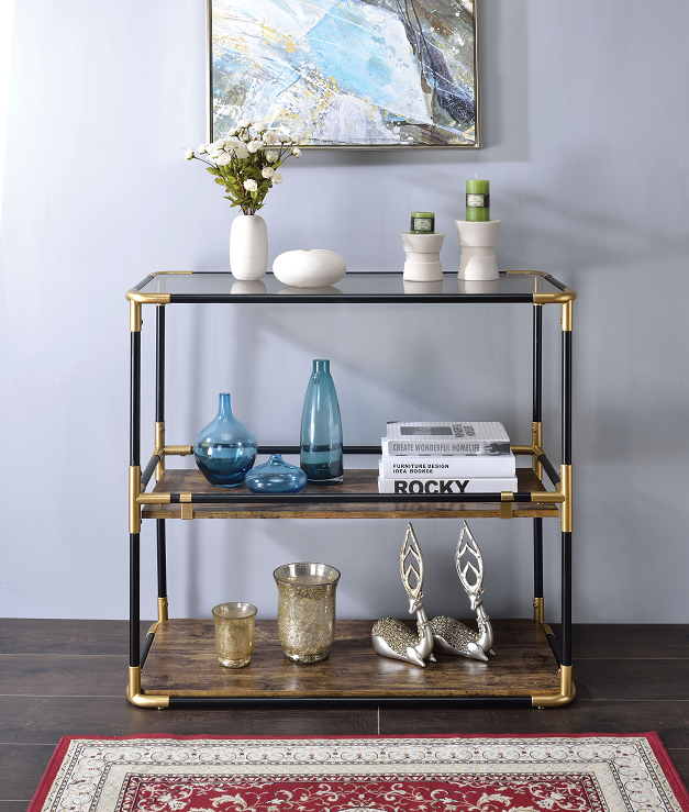 Heleris Black/Gold & Smoky Glass Console Table image