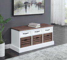 Load image into Gallery viewer, Weathered Brown and White Storage Bench