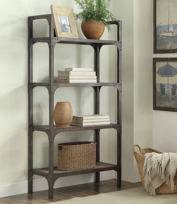 Gorden Weathered Oak & Antique Silver Bookshelf image