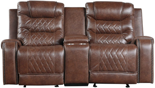 Homelegance Furniture Putnam Double Glider Reclining Loveseat in Brown 9405BR-2 image
