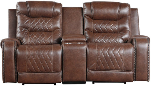 Homelegance Furniture Putnam Power Double Reclining Loveseat in Brown 9405BR-2PW image