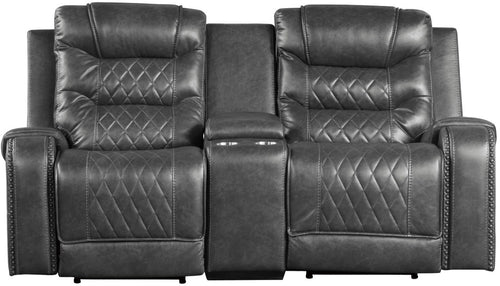 Homelegance Furniture Putnam Power Double Reclining Loveseat in Gray 9405GY-2PW image