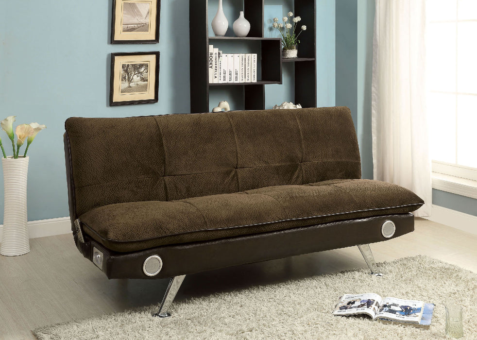 GALLAGHER Dark Brown/Chrome Futon Sofa w/ Bluetooth Speaker, Brown image