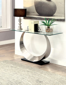 ORLA II Satin Plated/Black Sofa Table