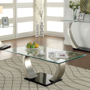 ROXO Satin Plated/Black Coffee Table