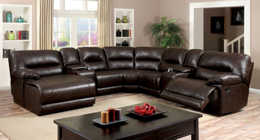 Glasgow Brown Sectional w/ 2 Consoles