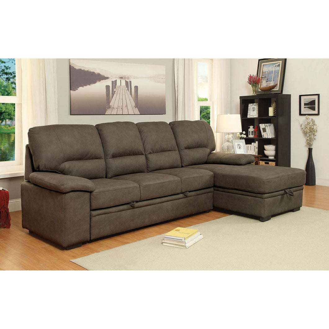ALCESTER Brown Sectional w/ Sleeper, Ash Brown