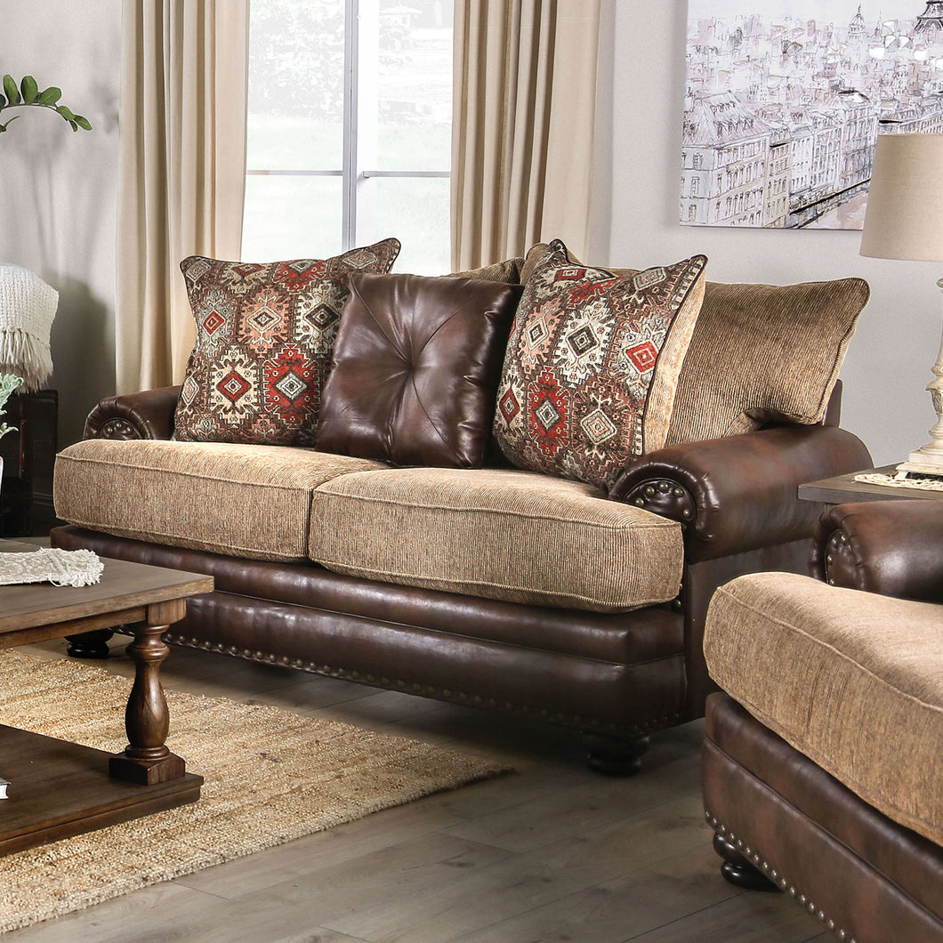Fletcher Brown/Tan Love Seat