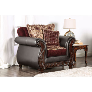 Franklin Burgundy/Espresso Chair, Burgundy