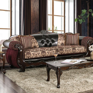 Quirino Burgundy/Dark Brown Sofa