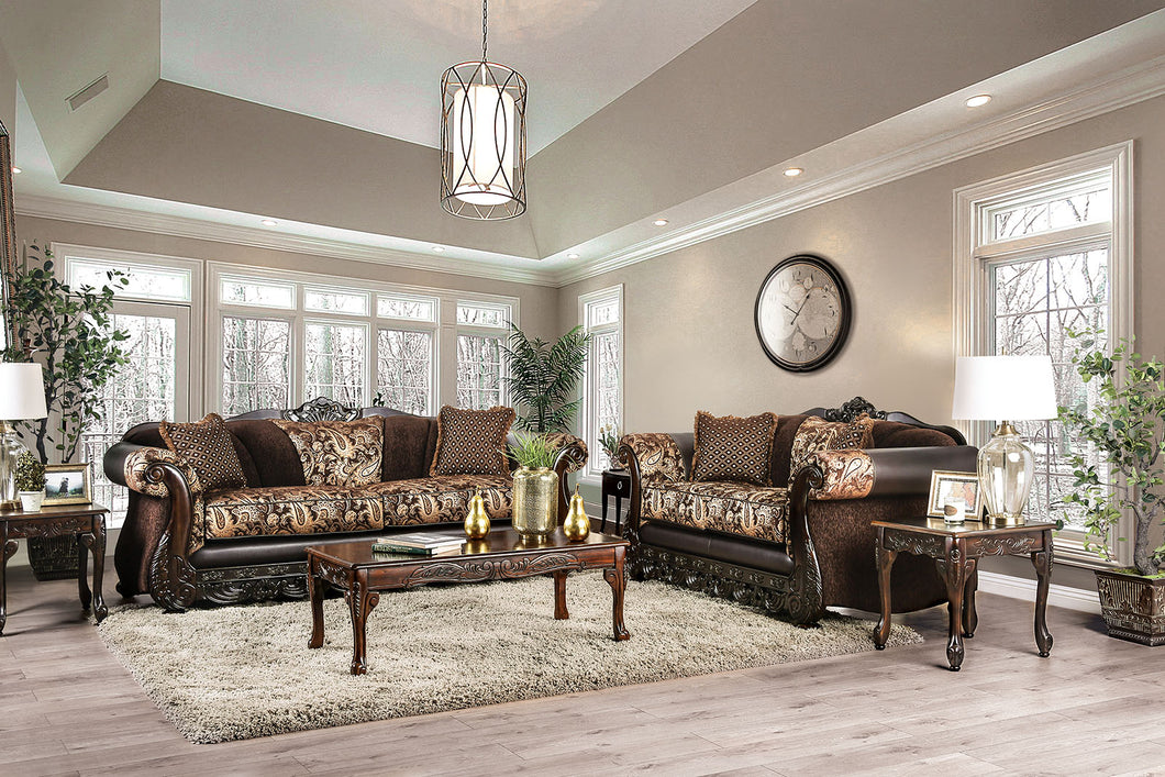 Newdale Brown/Gold Sofa + Love Seat