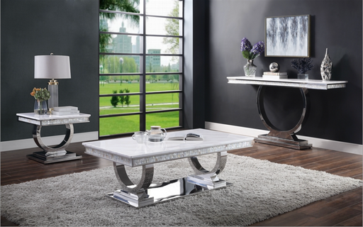 Zander White Printed Faux Marble & Mirrored Silver Finish Table Set image