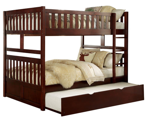 Homelegance Rowe Full/Full Bunk Bed w/ Twin Trundle in Dark Cherry B2013FFDC-1*R image