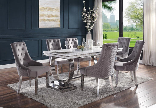 Zander White Printed Faux Marble & Mirrored Silver Finish Dining Room Set image
