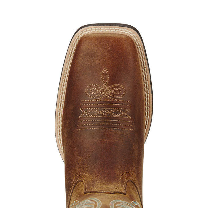 Ariat Women Round Up Wide Square Toe Western Boot - Powder Brown 10018528