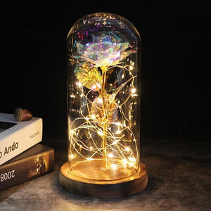 LED Enchanted Galaxy Rose With Fairy String Lights In Dome