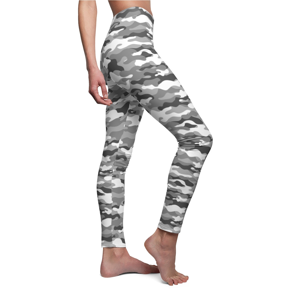 Camouflage Grey Women's Workout Camping Leggings