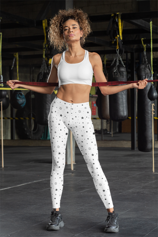 Starry Black Stars Women's Workout Leggings