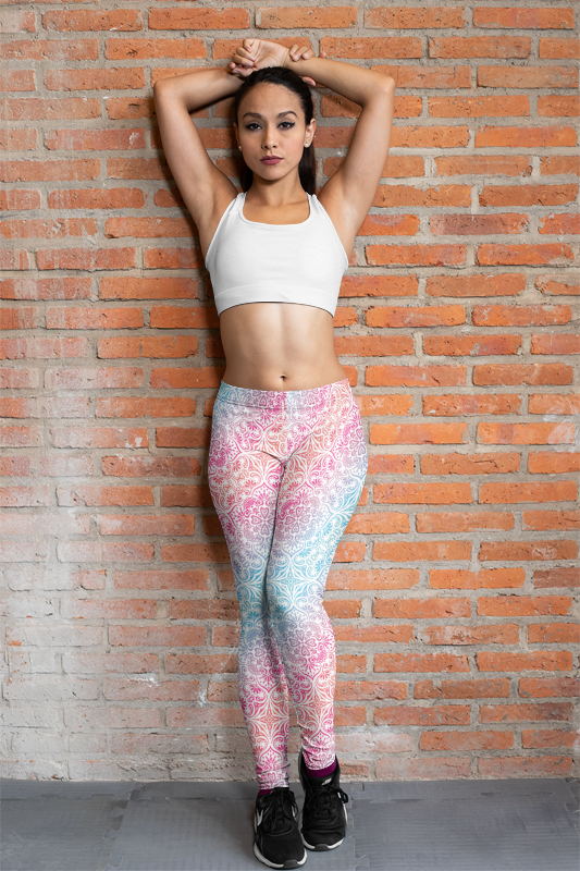 Mandala Rainbow White Women's Yoga Leggings