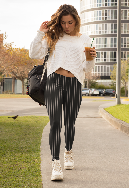 Black Striped Women's Casual Leggings