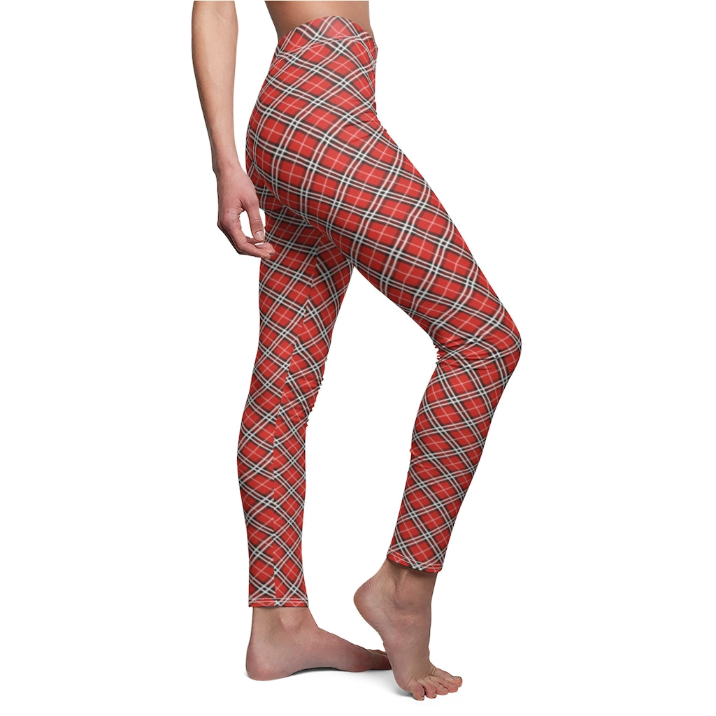 Red Checkered Women's Workout Leggings