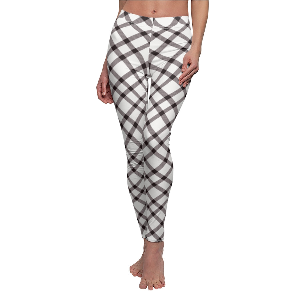 Dark Brown Twirl Checkered Women's Casual Leggings