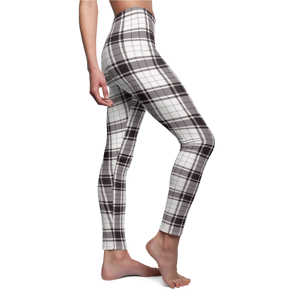 Dark Brown Checkered Women's Casual Leggings
