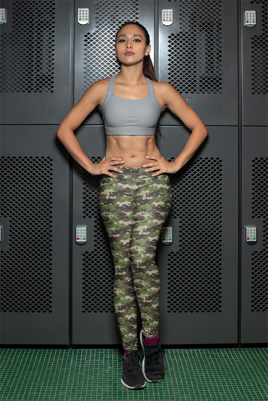 Camouflage Green Women's Casual Camping Leggings