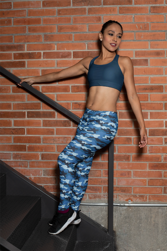Camouflage Blue Women's Yoga Camping Leggings