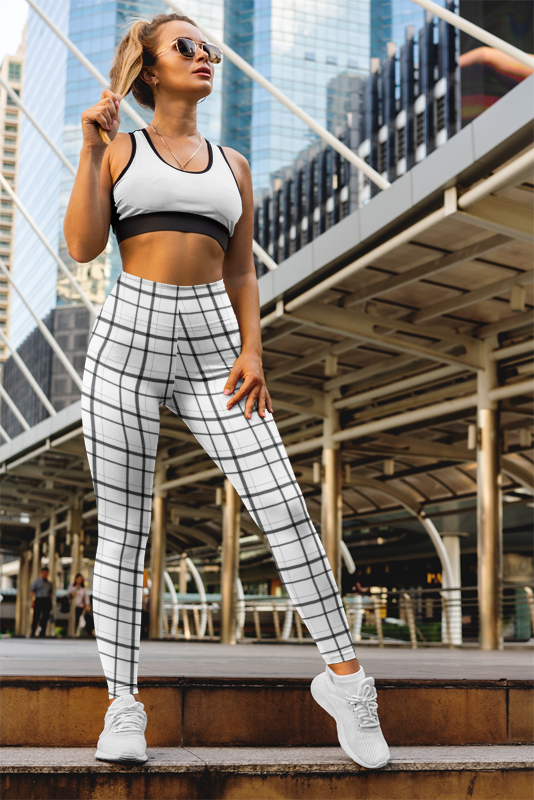 White Plaid Checkered Women's Casual Leggings
