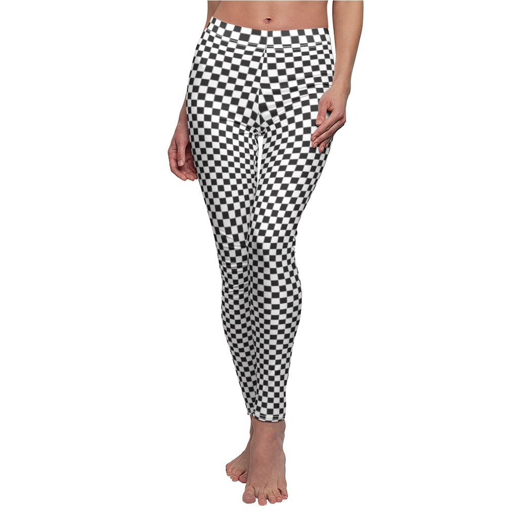 Black and White Checkered Women's Casual Leggings