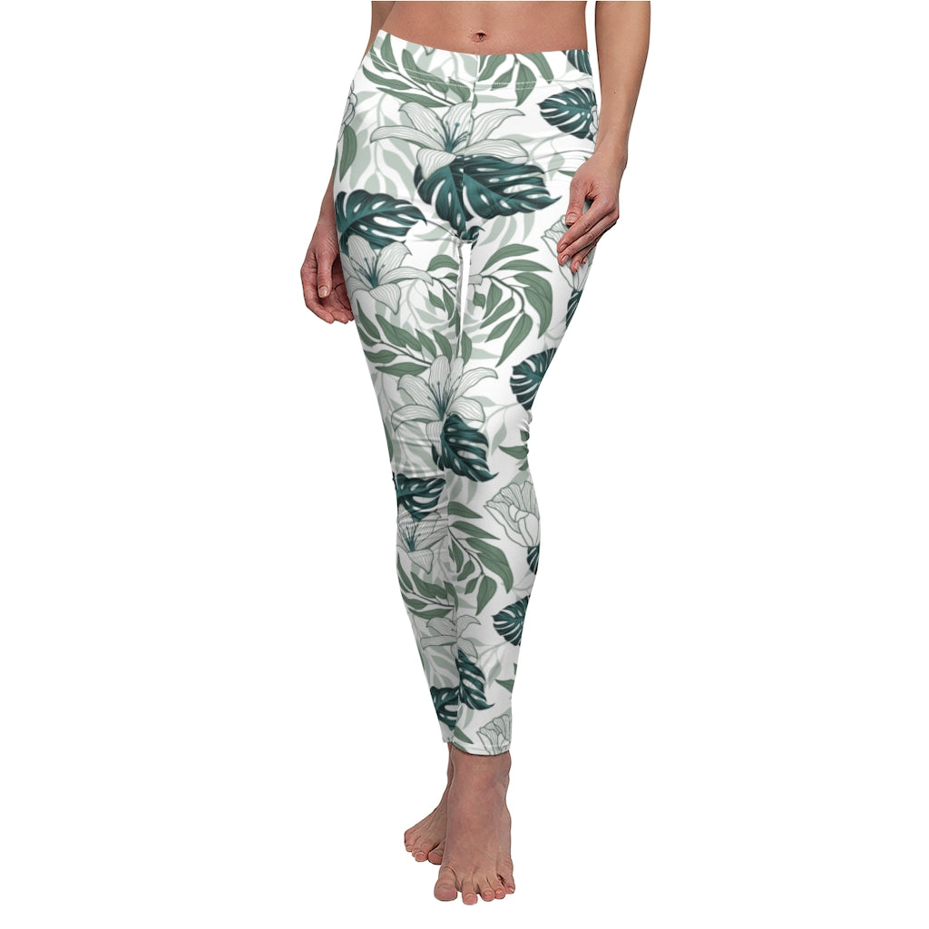 Tropical White Flower Women's Workout Leggings