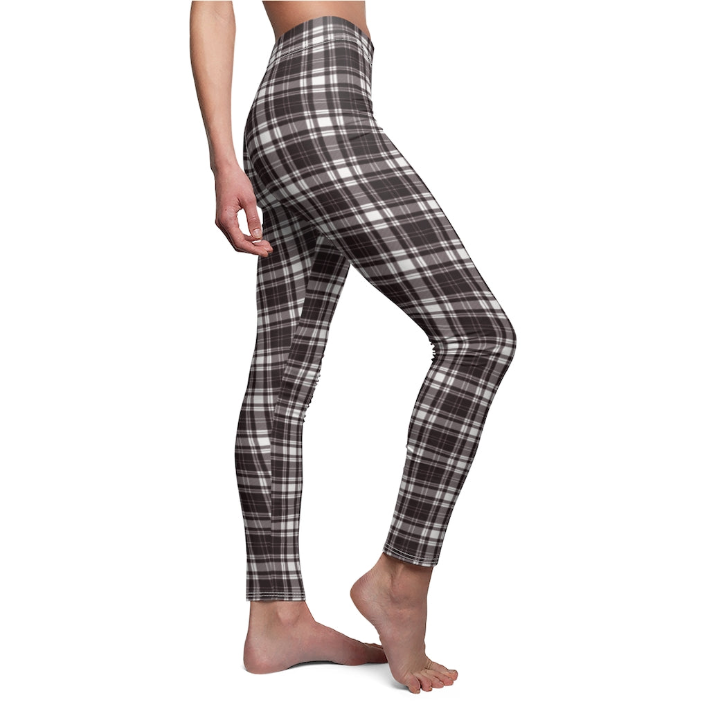 Dark Chocolate Big Stripe Checkered Women's Casual Leggings