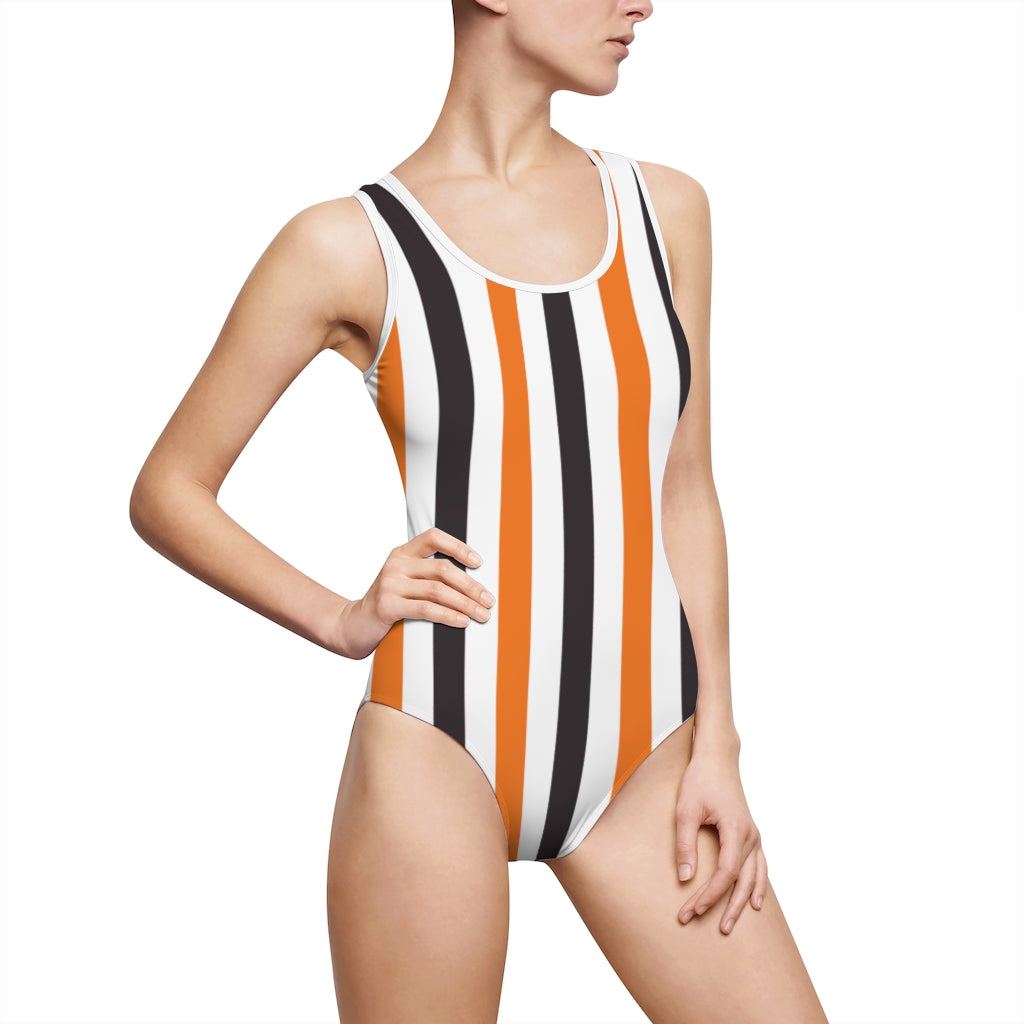 Dark Brown and Orange Multi Striped Women's Classic One-Piece Swimsuit