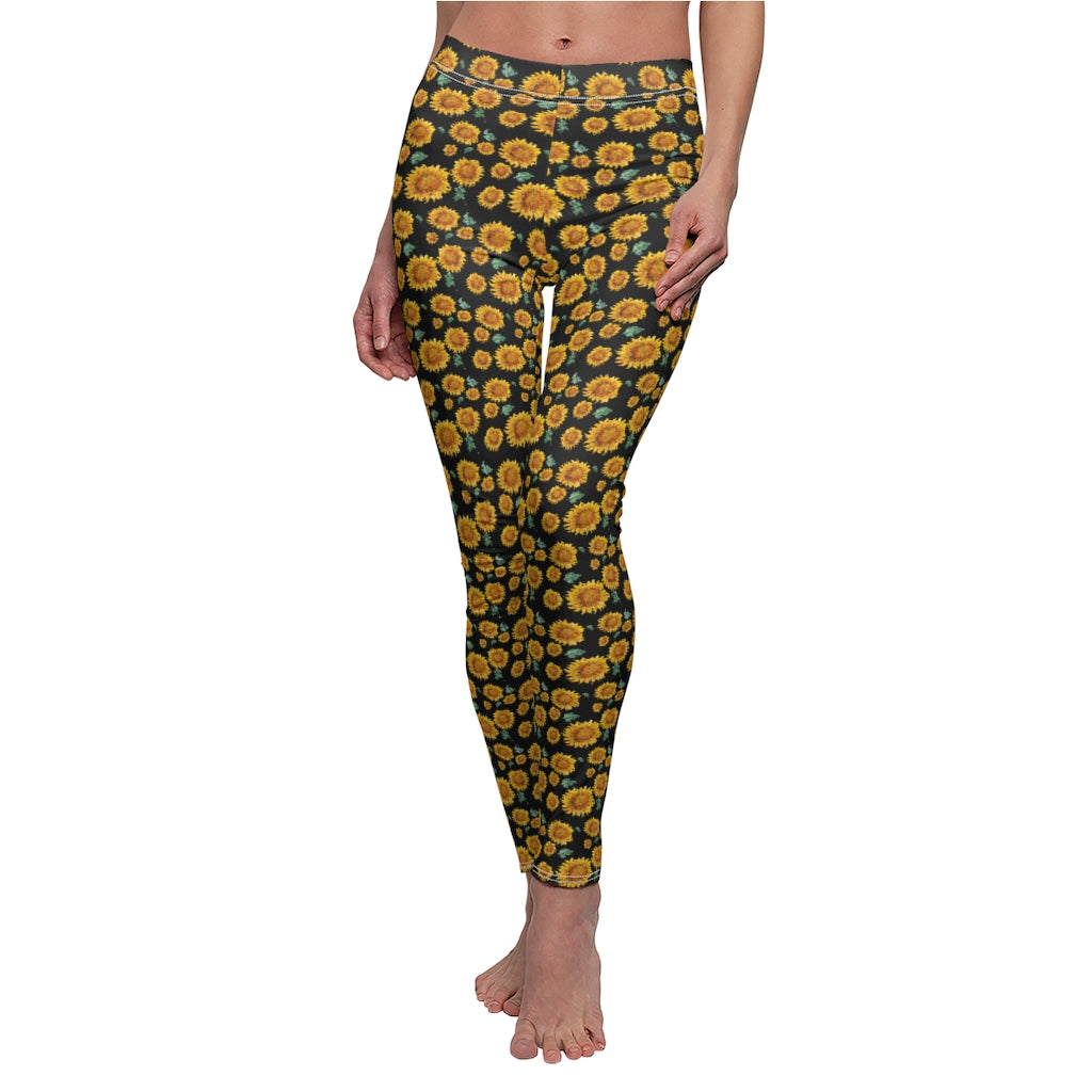 Sunflower Watercolor Women's Yoga Leggings