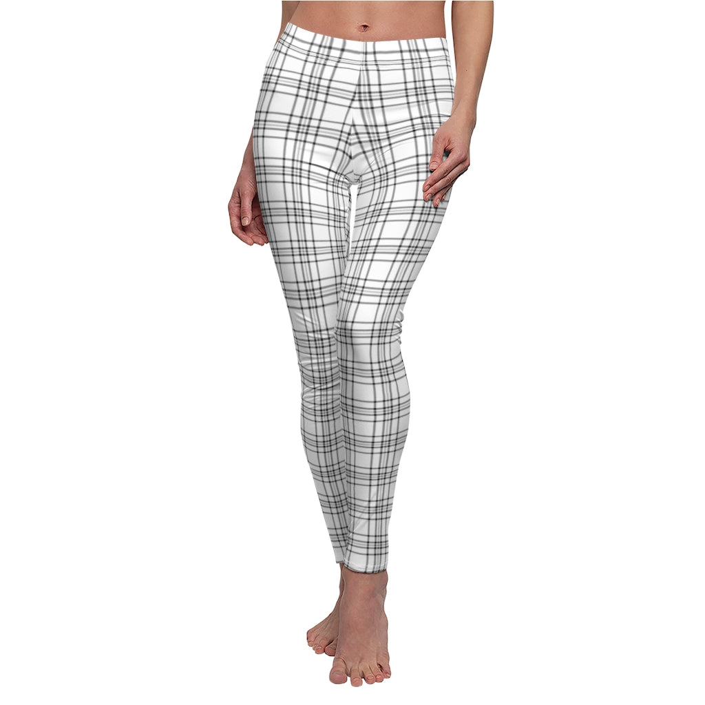 White Checkered Women's Casual Leggings