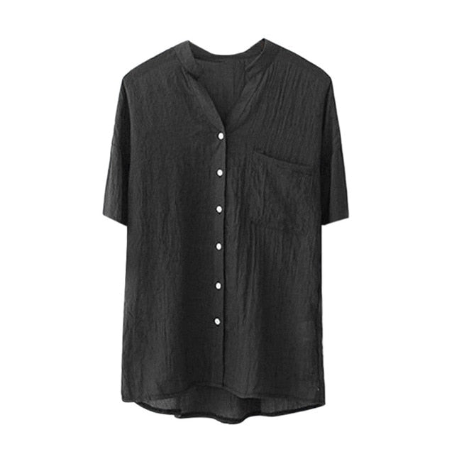 Summer Blouse Women Stand Collar Solid Short Sleeve Shirt Casual Blouse Button Down Shirt Casual Tops Plus Size Blusas Feminina