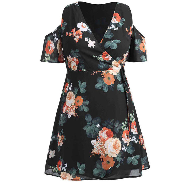 Fashion Summer Dress Women Casual Cold Should Floral Print Short Sleeve Party Dresses Plus Size Dress Vestidos Mujer Robe Femme