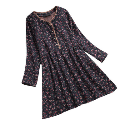 Summer Dress Women Ladies Floral Print Causal Long Sleeve Loose Dress Button Cotton Line Party Dress Vestidos Mujer Robe Femme