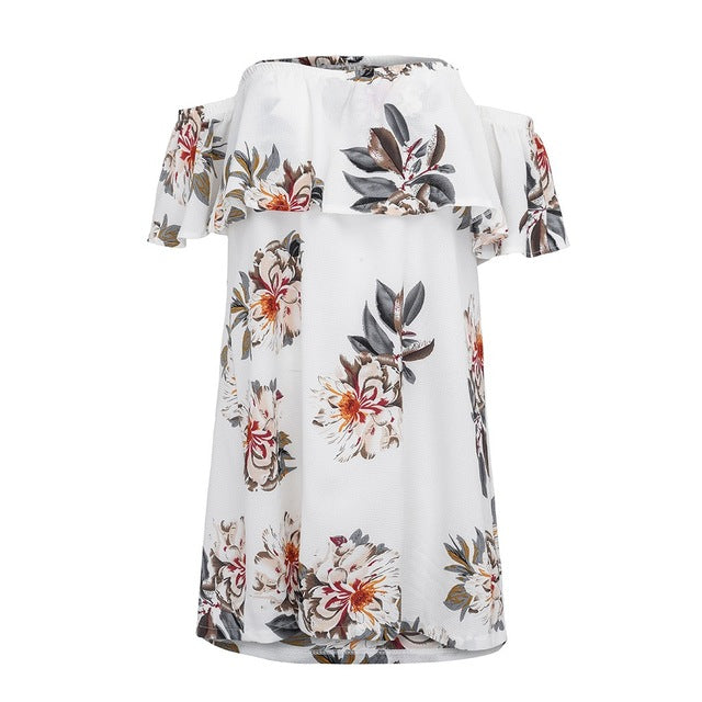 Summer Dress Women Elegant Off Shoulder Strapless Short Sleeve Printing Loose Female Dress Sexy Slim Bodycon Party Dresses