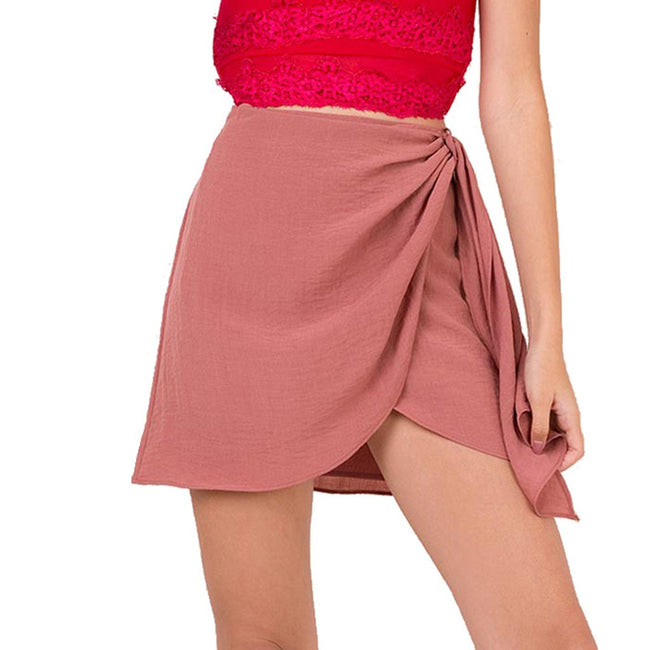 Feitong Women Skirts Summer Beach Solid Fold knot Skirt Irregular A-line Swing Elegant Women Clothing Causal Female Skirt