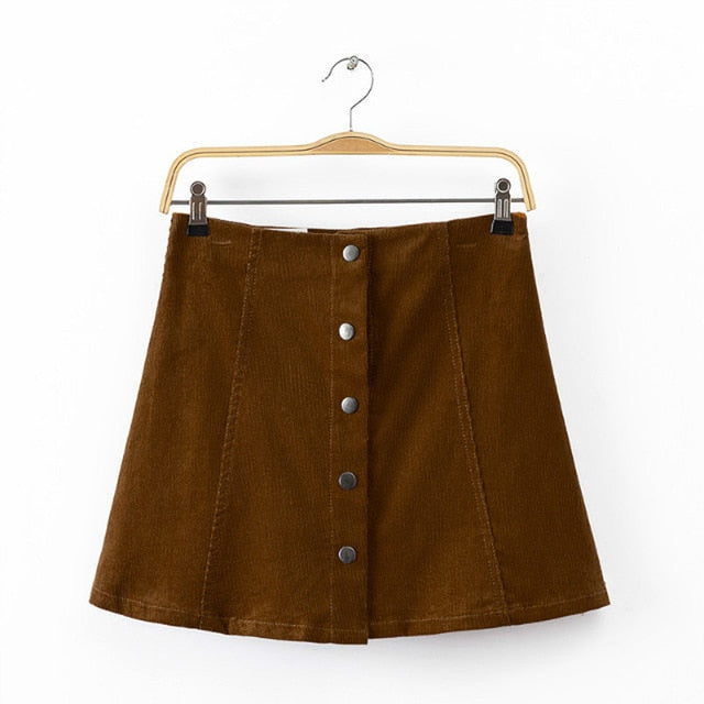 Feitong Women Skirts Vintage Suedette Button High Waist Plain A-Line Short Mini Skirt Party Casual Skirts Femme Faldas Mujer