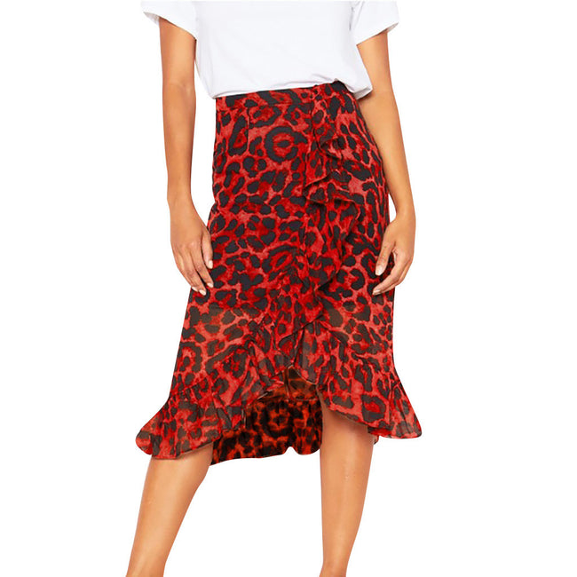 Feitong Leopard Print Vintage Women Skirts Fashion Loose High Waist Pleated Skirt Ladies Summer Party Casual Skirts Jupe Femme