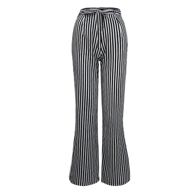 Feitong Women Pants Casual High Waist Stripe Lady Zipper Long Loose Pants With Lace Up Loose Female Trousers Ladies Pants