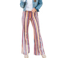 Feitong Fashion Women Ladies Flare Casual Pants Striped Printing Pants Trousers Slim Fit Trousers Streetwear Pantalones Mujer