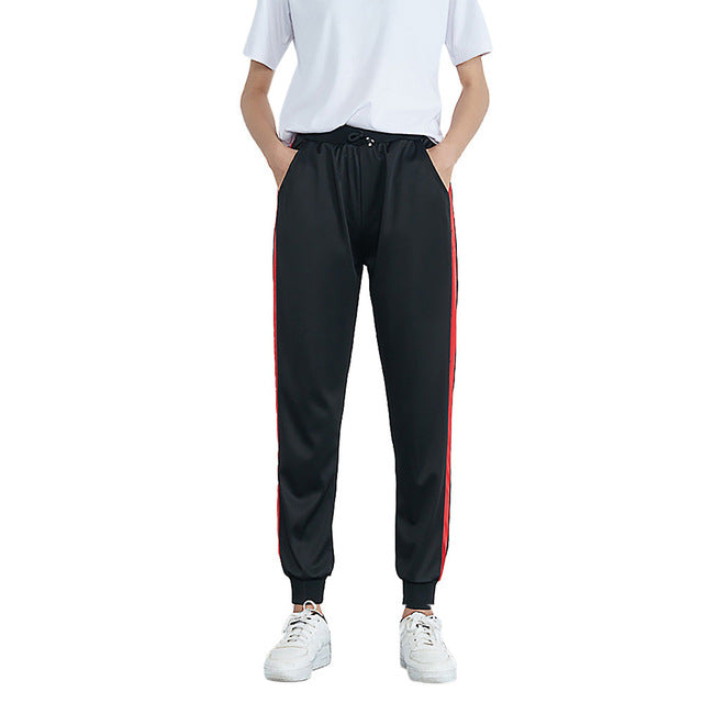 Feitong Women Pants Mid-Waist Casual Striped Print Sports Ladies Pants Harem Pants Jogger Pants Summer Female Trousers Pantalons