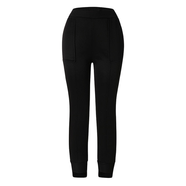 Fashion Women Casual Pockets Full Length Elastic Waist Solid Cotton Pants Cargo Pants Women Pantalon Femme Pantalones Mujer