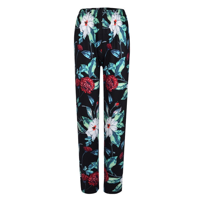Feitong Women Pants Mid-Waist Floral Print Elastic Waist Long Loose Straight Ladies Casual Pants Female Trousers Pantalons
